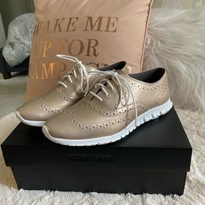 Cole Haan gold metallic zero grand oxfords